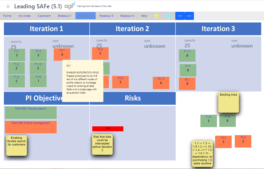 screenshot from Leding SAFe training course in VTC